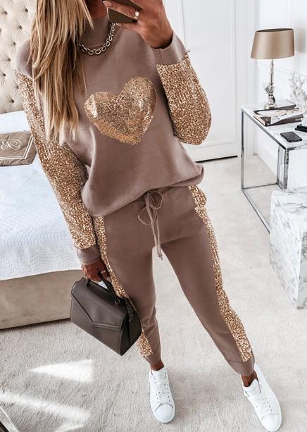 Sequin Heart Long Sleeve Top & Drawstring Waist Pants Set