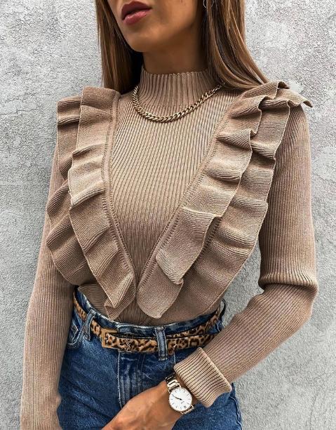 Ruffles Hem Long Sleeve Sweater
