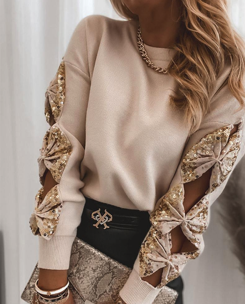 Sequin Bowknot Cut-out Long Sleeve Sweater