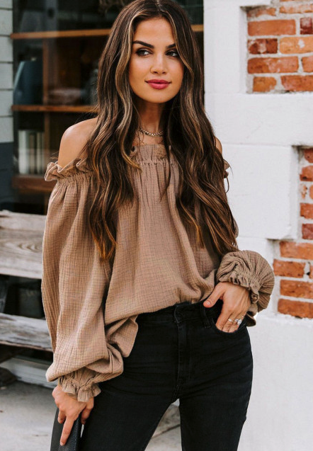Brown Off-the-shoulder Ruffle Top