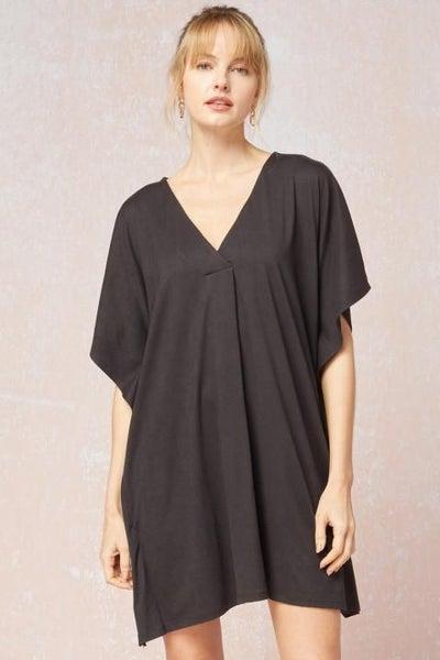 Black V Neck w/ Front Pleat Dress