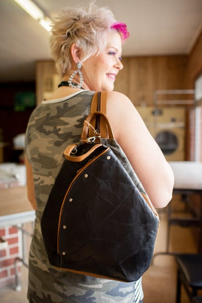 Black Upcycled Leather Backpack