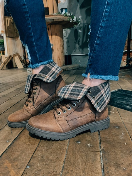 Plaid Fold Over Boots
