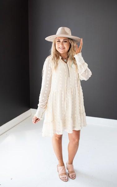 Cream Swiss Dot Ruffle Hem Dress