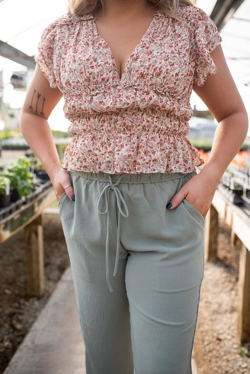 Sage Trousers with Elastic Waistband & Drawstring