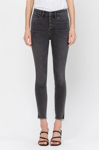 Black Front Button Cropped Skinnies w/ Side Slit