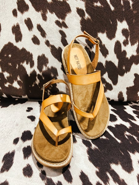 Nude Leather Thong Sandal