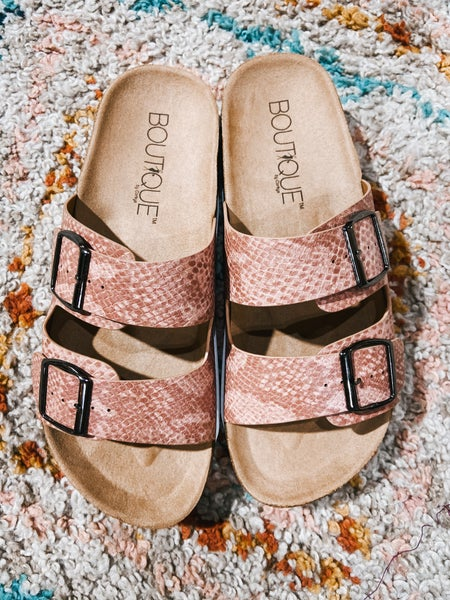 Pink Snake Birky Sandal