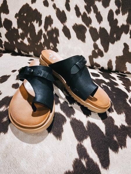 Black Buckle Detail Slide on Sandal