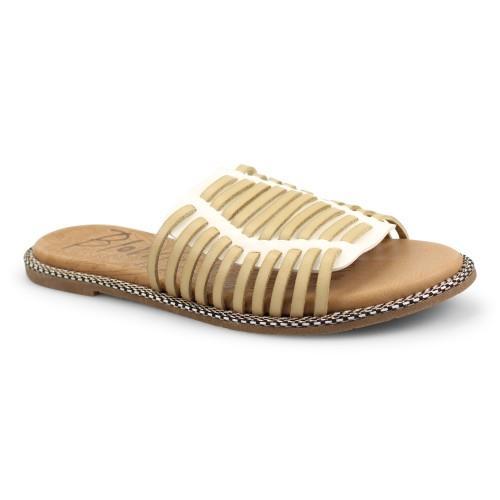 White & Cream Slide On Sandal