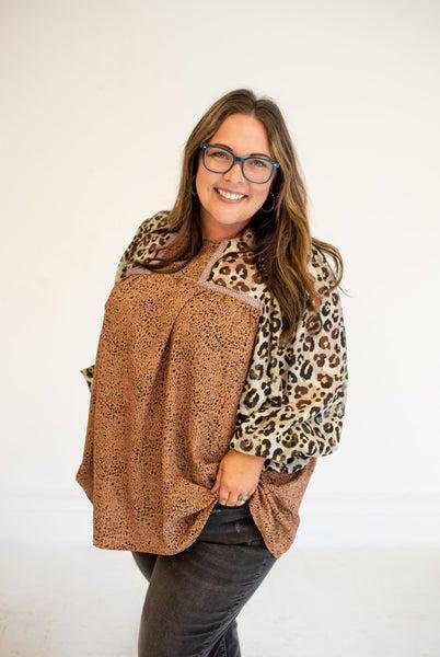 Bronze Loving You Mix Cheetah Chiffon Long Sleeve Blouse