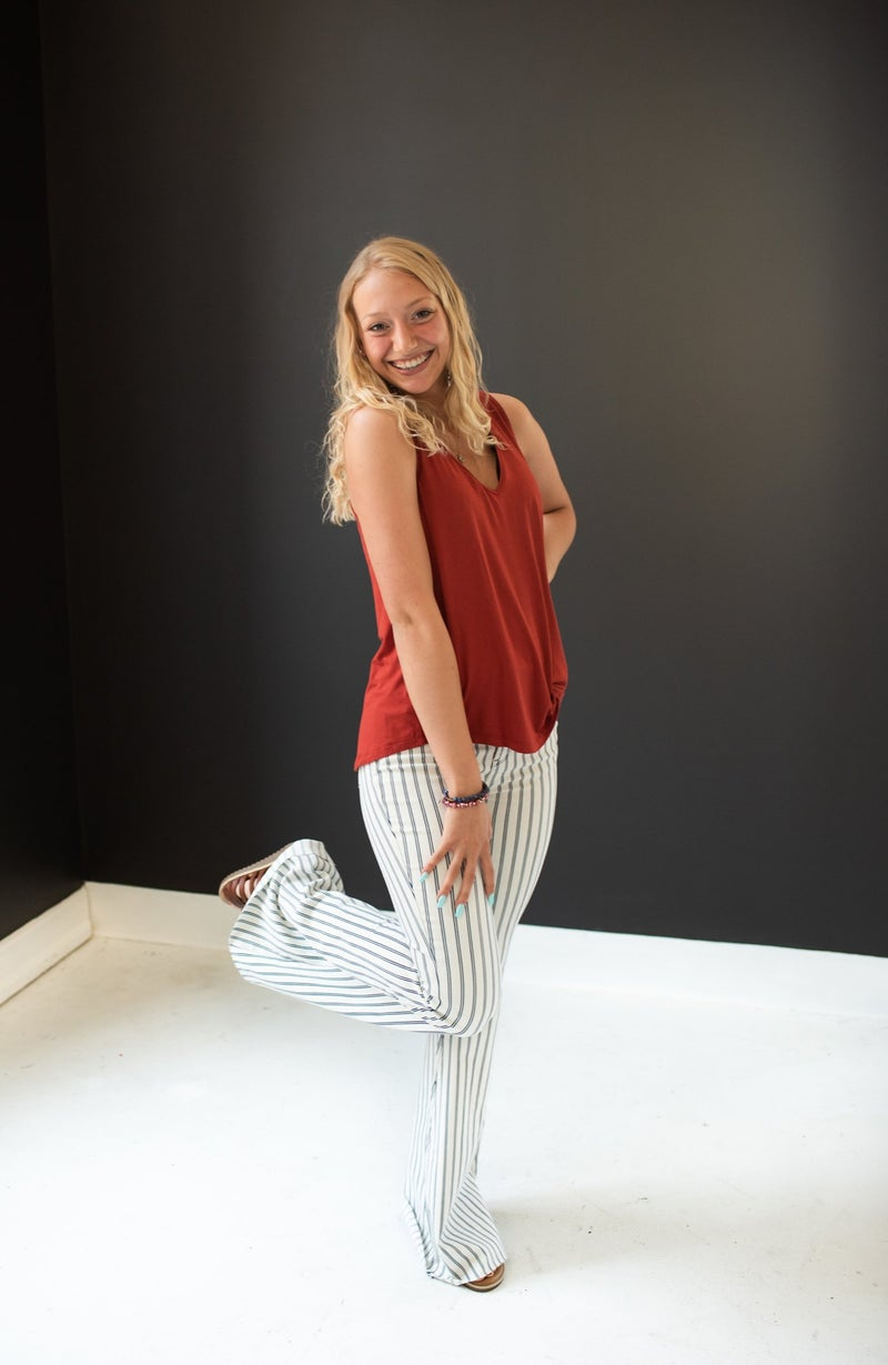 High Waist Super Flare with White Pin Stripe