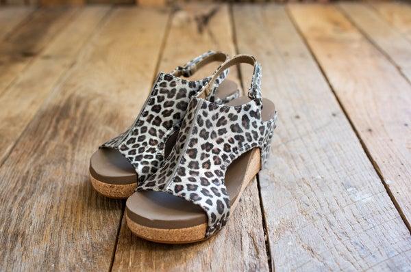 Silver Leopard Wedge