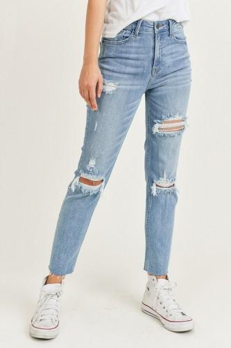 High Rise Distressed Relaxed Skinny