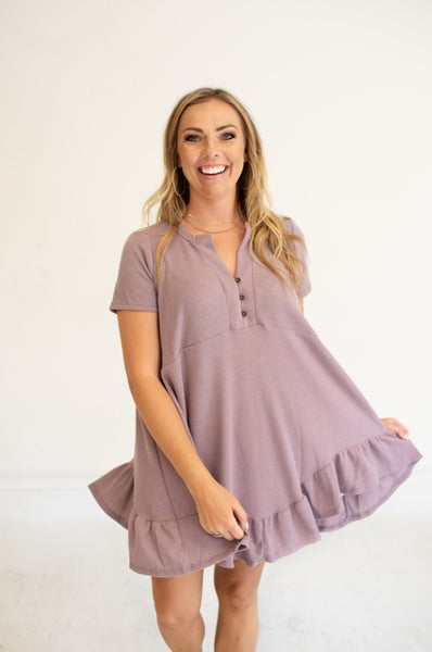 Lavender Waffle Tunic Dress with Ruffle Accent