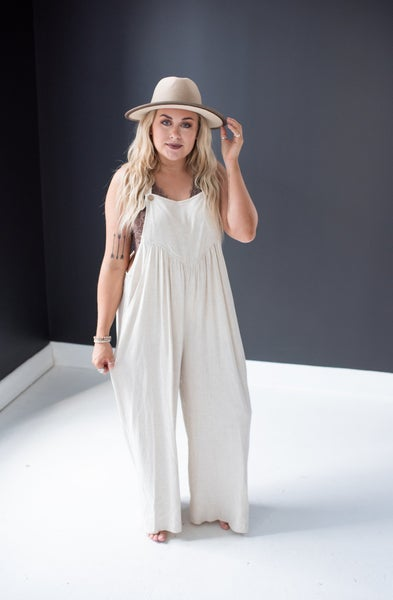 Oatmeal Linen Overalls with Pleats + Pockets