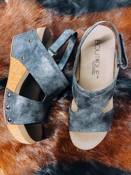 Brushed Black Wedge Sandal