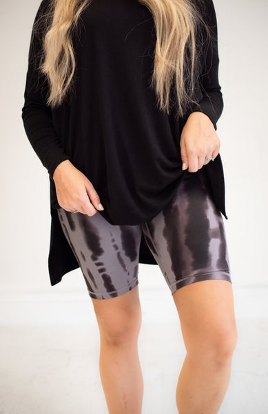 Grey & Black Tie Dye Biker Shorts