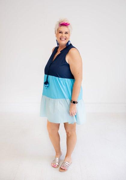 Blue Color Block Tiered Dress w/ V Neck Tassel Ties