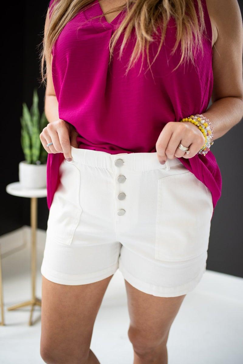 Front Button White Shorts w/ Elastic Waist