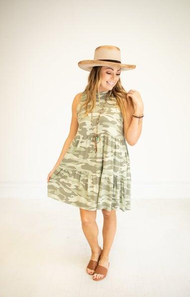 Sage Camo Jersey Knit Sleeveless Dress