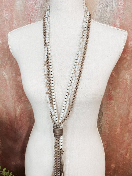 Multi Bead Gray Necklace w/ Gray Leather Wrap