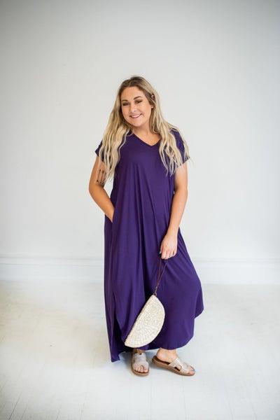 Plum Cuffed Sleeve Maxi Dress