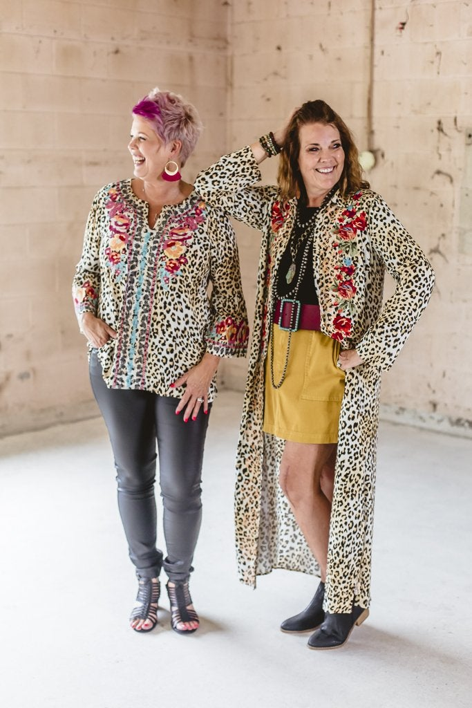 Embroidered Cheetah Duster