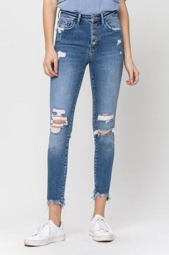 High Rise Ankle Frayed Hem Skinny Jean