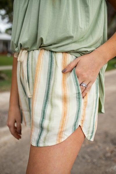 Striped Shorts w/ Drawstring