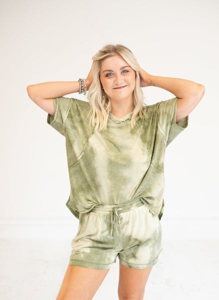 Olive Tie Dye Loose Boxy Top