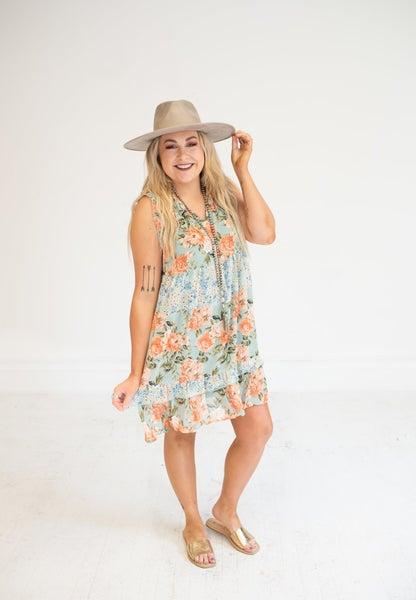 Sage Floral Mix Ruffle Trim Sleeveless Dress