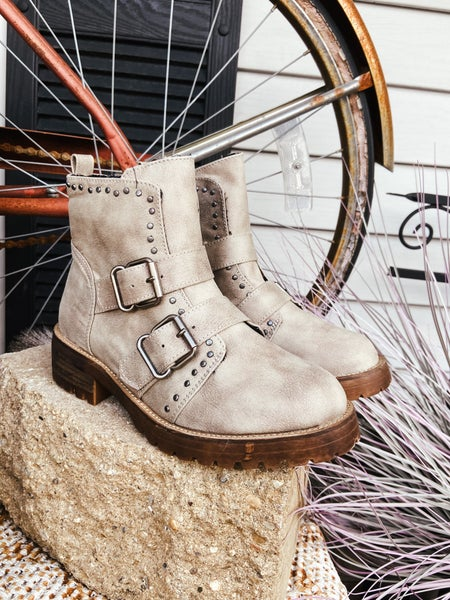 Cream Studded Double Strap Bootie