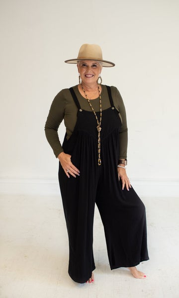Black Linen Overalls with Pleats + Pockets