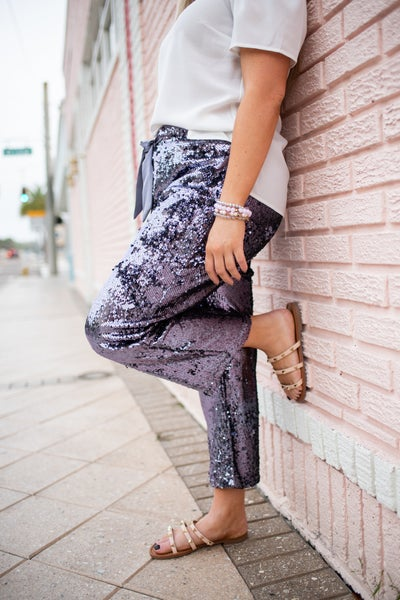 Purplish Gray Sequin Wide Leg Pants