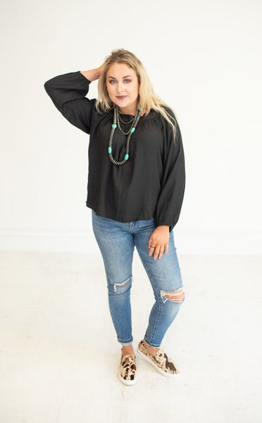 Black Square Neck Linen Flowy Top with Tie