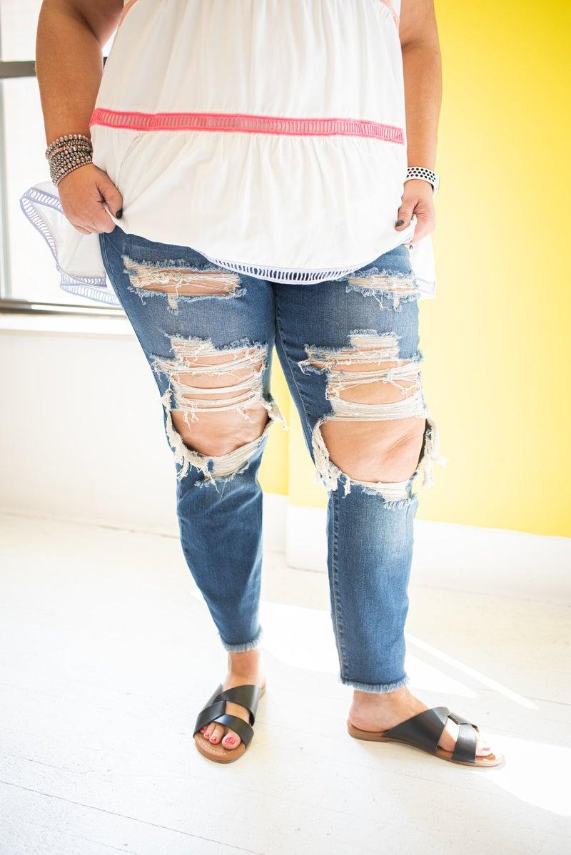 Heavy Destroyed Dark Denim Jeans