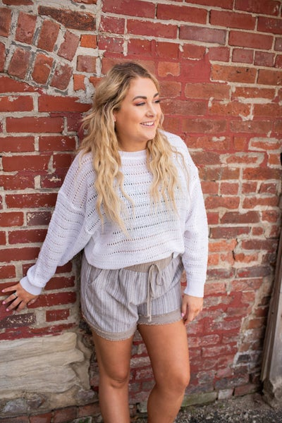 Light Weight White Knit Sweater