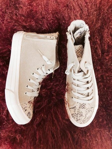 Gray High Top Sneaker w/ Snakeprint & Zipper Detail