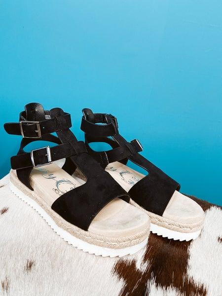 Black Faux Suede Sandal w/ Ankle Strap