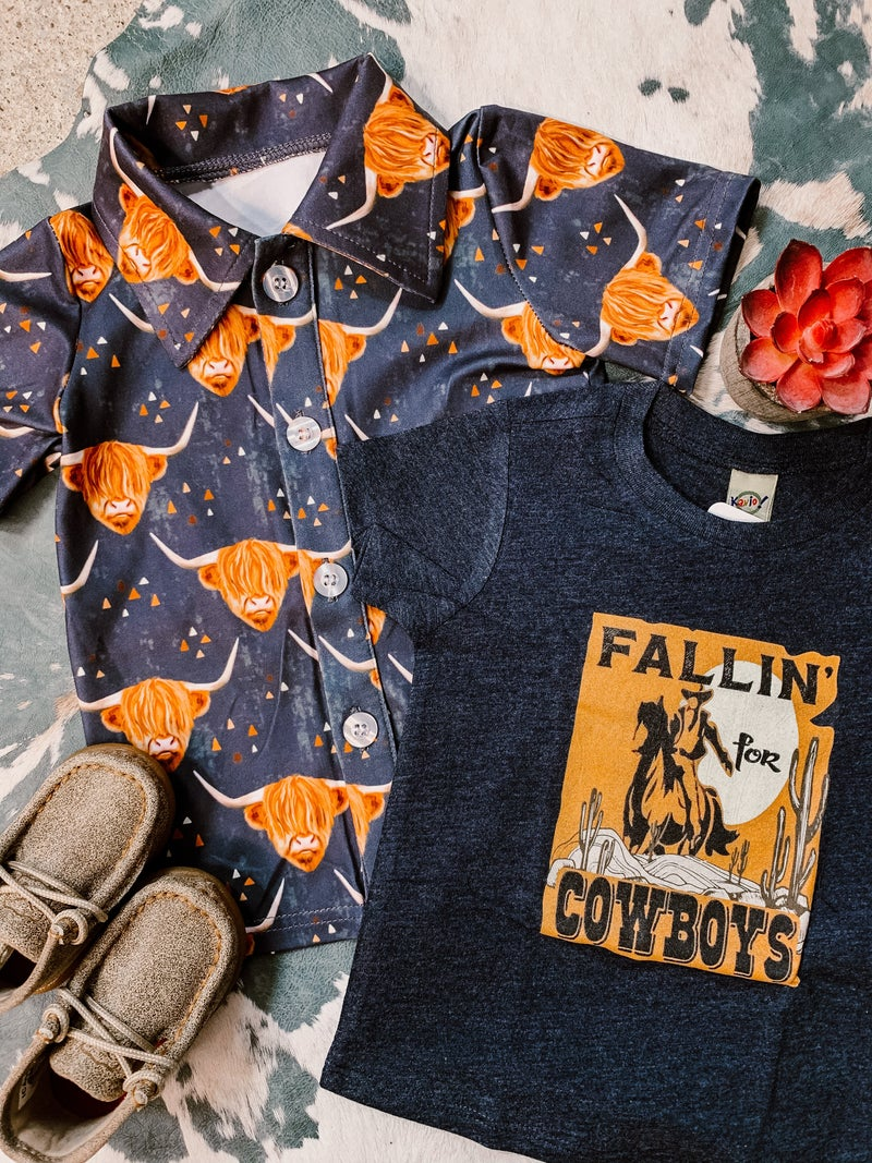 Highland Cow Button Down Shirt
