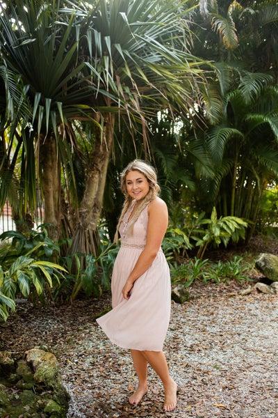Lace Halter Plunge Neckline Dress