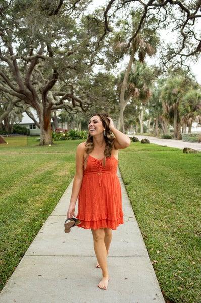Orange Flounced Hemline Front Tie Dress