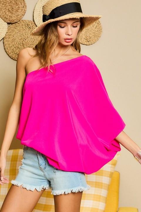 One Shoulder L/S Hot Pink Top