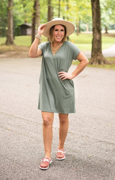 Sage V Neck Knit Dress with Pockets