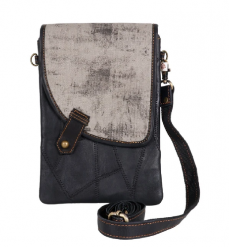 Black Crossbody w/ Gray Asymmetrical Cover