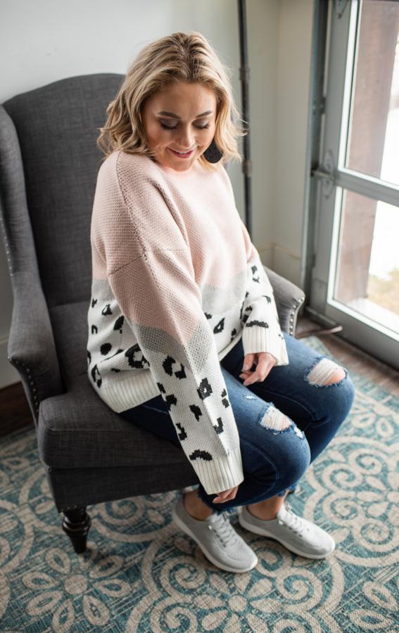 Pink, Gray, & Cheetah Sweater