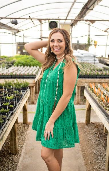 V Neck Green Eyelet Dress w/ Flutter Sleeves