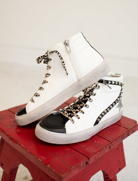 White High Top Silver Star Sneaker with Studded Detail