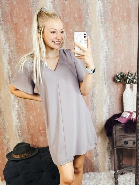Front Seam Gray Dress